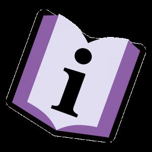 Buch mit Informationszeichen